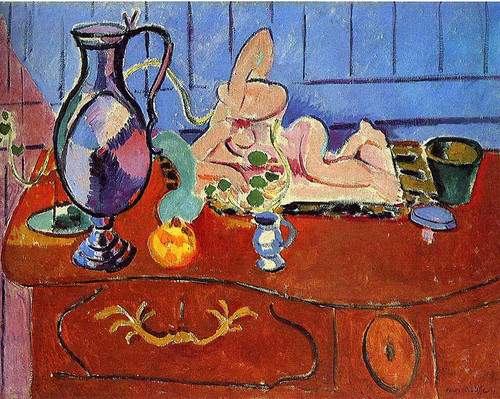 Still Life With A Pewter Jug And Pink Statuette 1910 By Henri Matisse