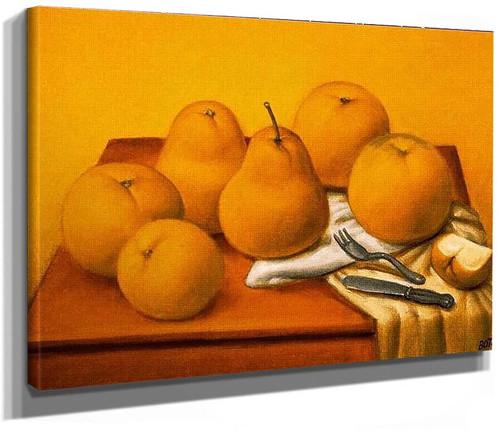 Still Life With Apples And Pears Aka Naturaleza Con Manzanas Y Peras By Fernando Botero