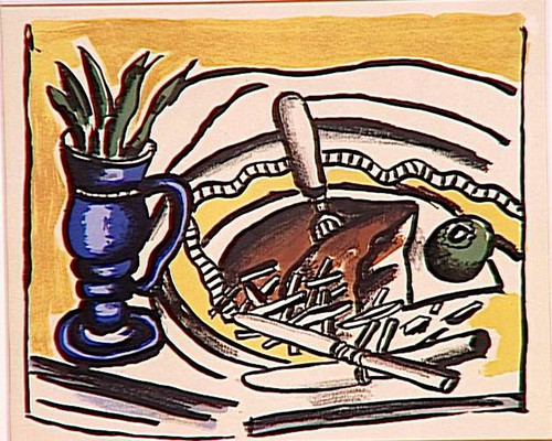 Still Life With Blue Vase The Roosbeef 1951 By Fernand Leger