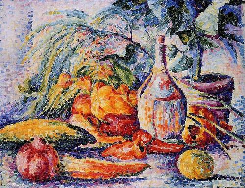 Still Life With Bottle Of Wine By Henri Edmond Cross