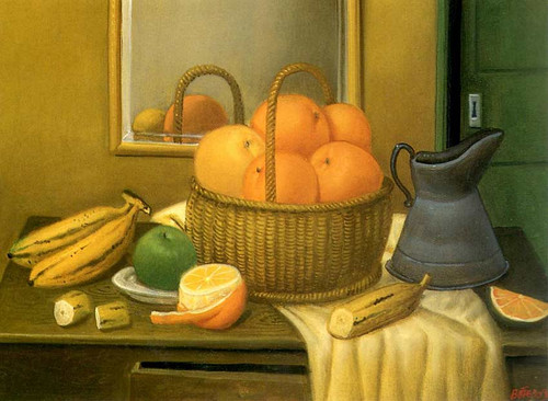 Still Life With Fruit Basket By Fernando Botero