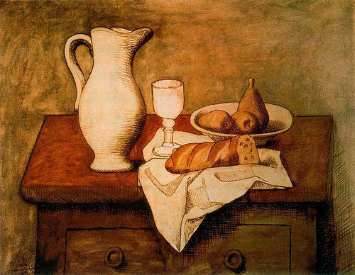Still Life With Jug And Bread 1921 By Pablo Picasso