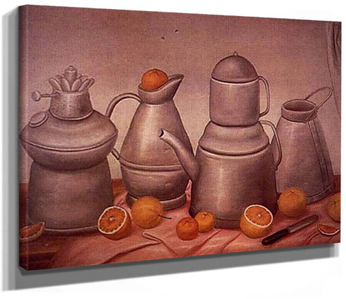 Still Life With Pewters By Fernando Botero