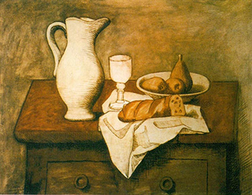 Still Life With Pitcher And Bread By Pablo Picasso