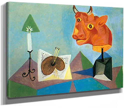 Still Life With Red Bull By S Head By 1 By Pablo Picasso