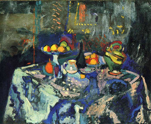Still Life With Vase Bottle And Fruit By Henri Matisse
