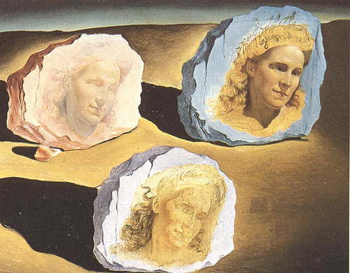 Three Apparitions Of The Visage Of Gala By Salvador Dali