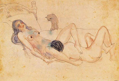 Two Nudes And A Cat 1903 By Pablo Picasso