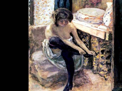 Woman In Black Stockings By Pierre Bonnard