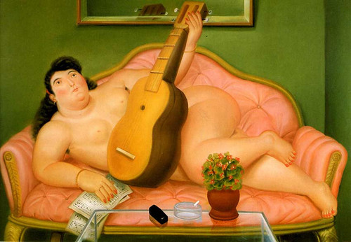 Woman With A Guitar By Fernando Botero