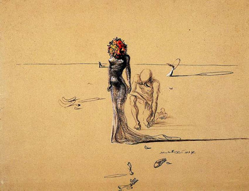 Woman With Flower Head By Salvador Dali