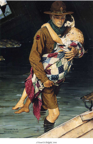 A Scout Is Helpful 1941 By Norman Rockwell Art Reproduction from Wanford