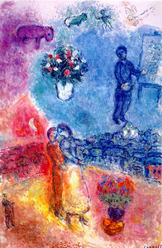 Artist By Over Vitebsk 1982 By Marc Chagall Art Reproduction from Wanford