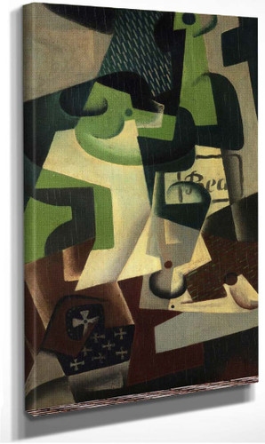 Bottle Of Beaune And A Fruit Dish 1917 By Juan Gris
