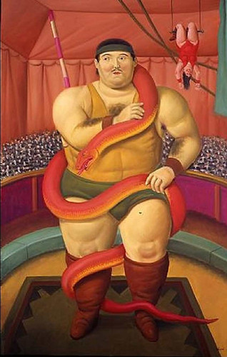 Circus Performer With Snake Aka Uomo Con Serpent By Fernando Botero Art Reproduction from Wanford