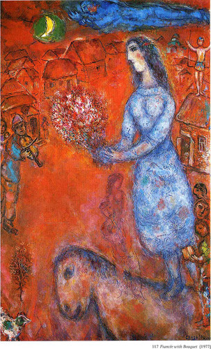 Fiancee With Bouquet 1977 By Marc Chagall Art Reproduction from Wanford