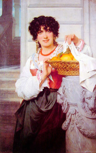 Pisan Girl With Basket Of Oranges And Lemons By Pierre August Cot Art Reproduction from Wanford