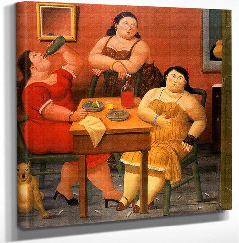 Three Women Drinking By Fernando Botero Art Reproduction from Wanford.
