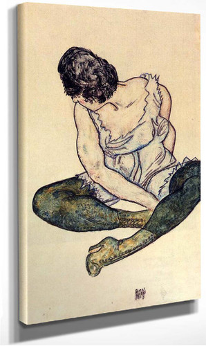Seated Woman With Green Stockings 1918 By Egon Schiele