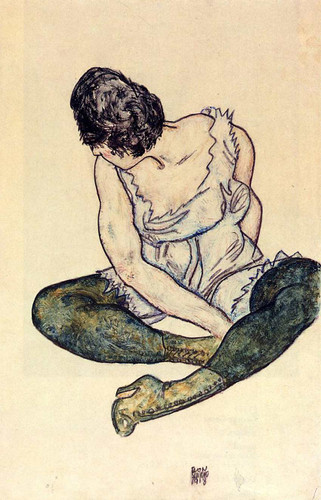 Seated Woman With Green Stockings 1918 By Egon Schiele Art Reproduction from Wanford
