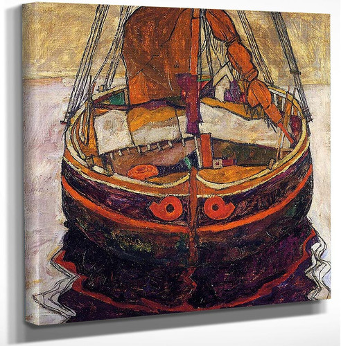 Trieste Fishing Boat 1912 By Egon Schiele Art Reproduction from Wanford.