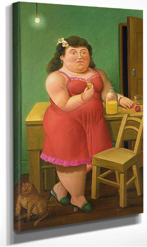 Woman Drinking With A Cat By Fernando Botero