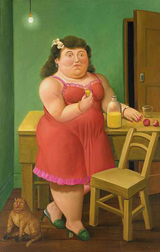 Woman Drinking With A Cat By Fernando Botero Art Reproduction from Wanford