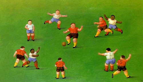 Children Playing Football By Fernando Botero
