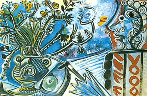 Flowers And Man With Umbrella By Pablo Picasso