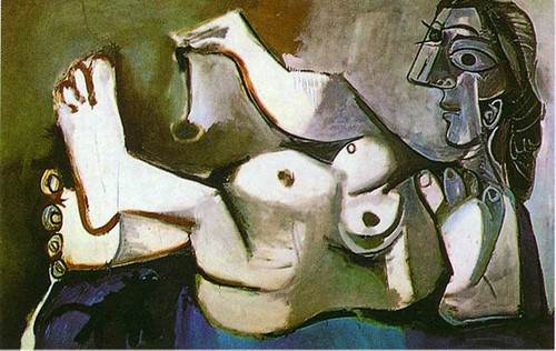 Lying Female Nude Playing With Cat 1964 1 By Pablo Picasso