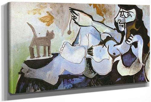 Lying Female Nude Playing With Cat 1964 By Pablo Picasso