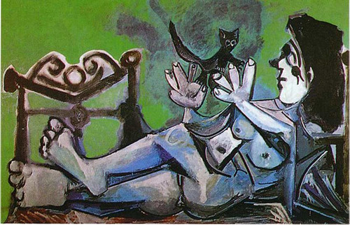 Lying Female Nude With Cat 1964 By Pablo Picasso