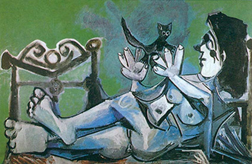 Reclining Nude Playing With A Cat 1 By Pablo Picasso