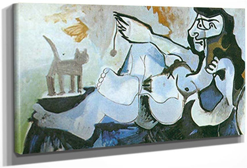 Reclining Nude Playing With A Cat By Pablo Picasso
