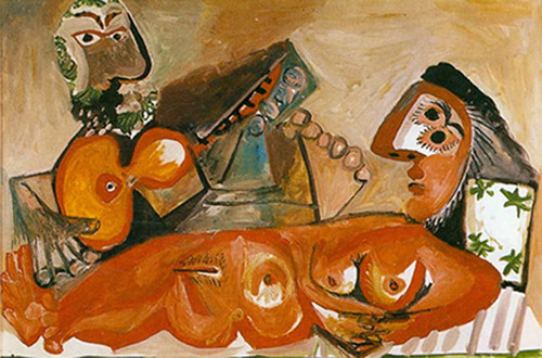 Reclining Nude With A Man Playing The Guitar By 1 By Pablo Picasso