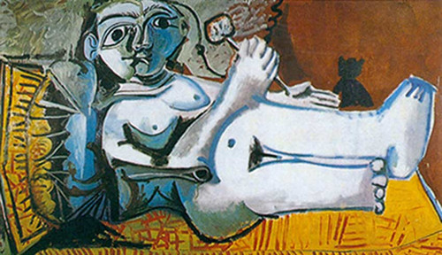 Reclining Nude With Flower And Cat 1 By Pablo Picasso