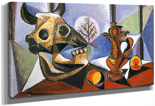 Still Life With Bull By S Head By Pablo Picasso