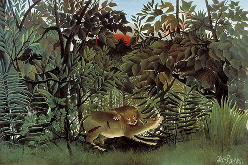 The Hungry Lion Throws Itself On The Antelope 1905 By Henri Rousseau