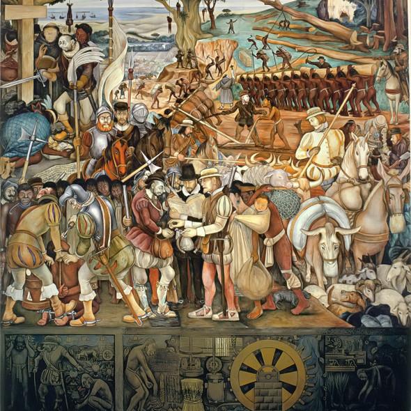Arrival Of Hernan Cortes In Veracruz by Diego Rivera Print