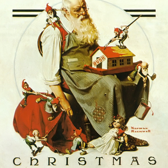 Chirstmas Santa With Elves by Norman Rockwell Print