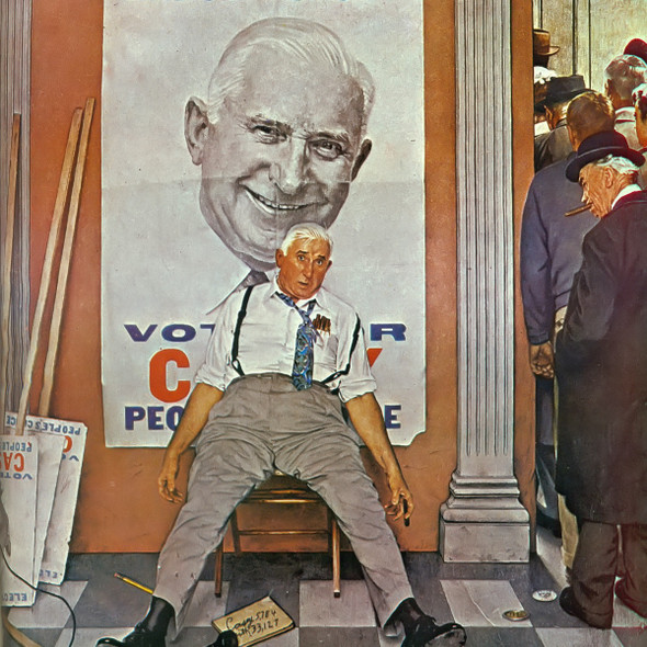Elect Casey by Norman Rockwell Print