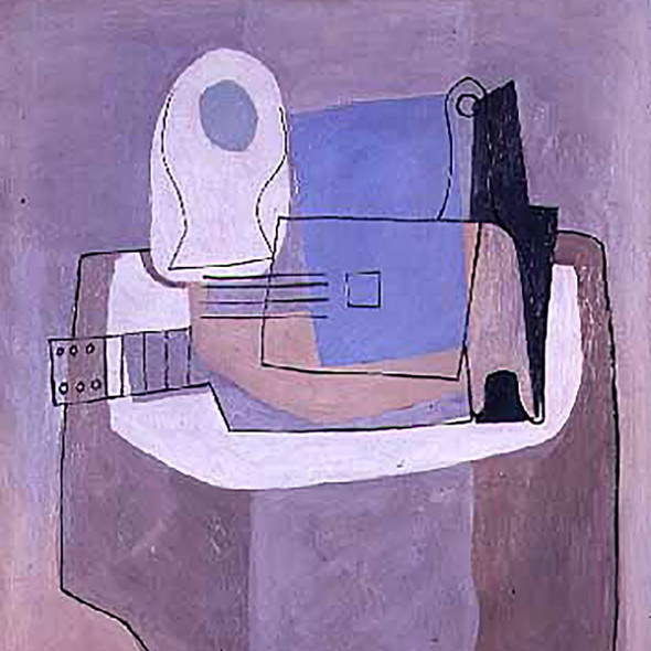 Guitar Bottle And Fruit Bowl 100x90 by Picasso Print