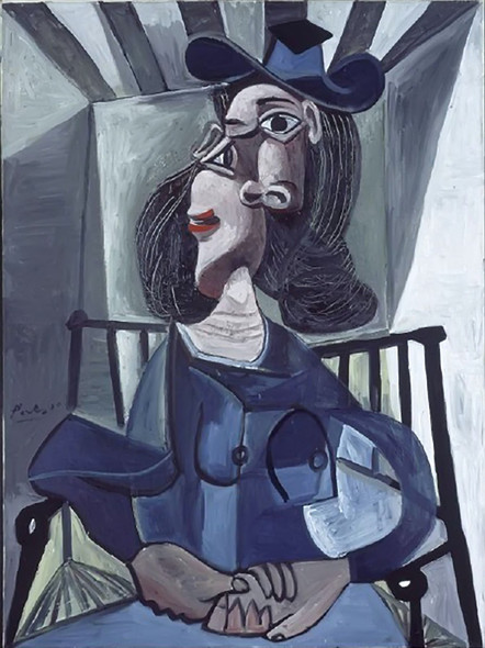 1942 Woman With Hat Seated In An Armchair by Picasso Print