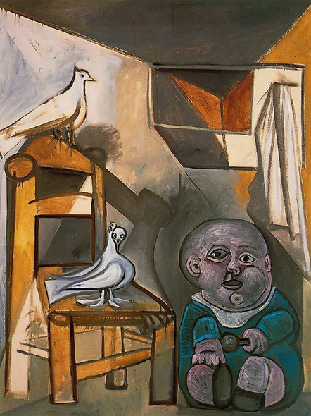 A Child With Pigeons 162x130 by Picasso Print