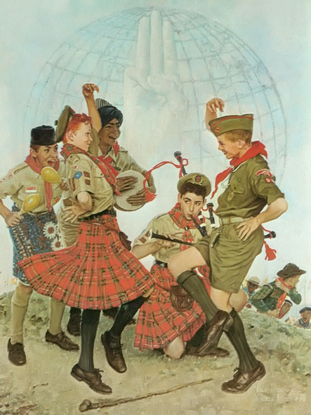 A Good Turn All Over The World by Norman Rockwell Print