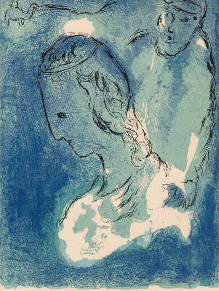 Abraham And Sarah From The Bible 1956 by Marc Chagall Print