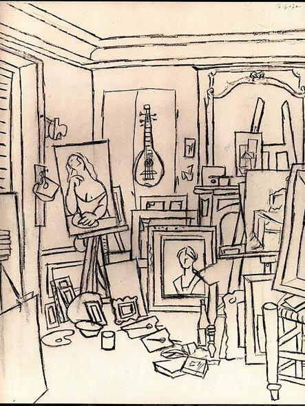 Artists Studio On Street La Boetie 62x48 by Picasso Print