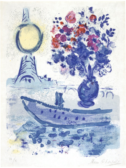 Bateau Mouche With Bouquet by Marc Chagall Print