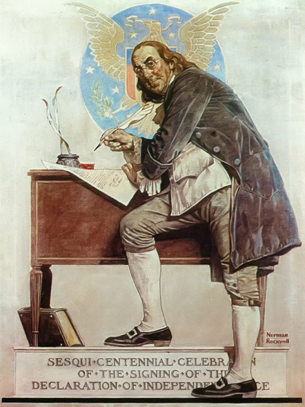 Ben Franklins Sesqui Centennial by Norman Rockwell Print