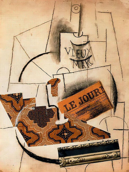 Bottle Of Vieux Marc Glass And Newspaper 63x49museum National Dart Moderne Centre Georges Pompidou Paris France by Picasso Print